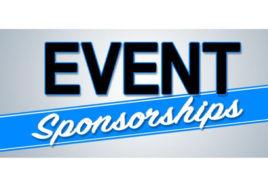 "Graphic Designed with gradient grey and blue stripe label with text ""Event Sponsorships"""