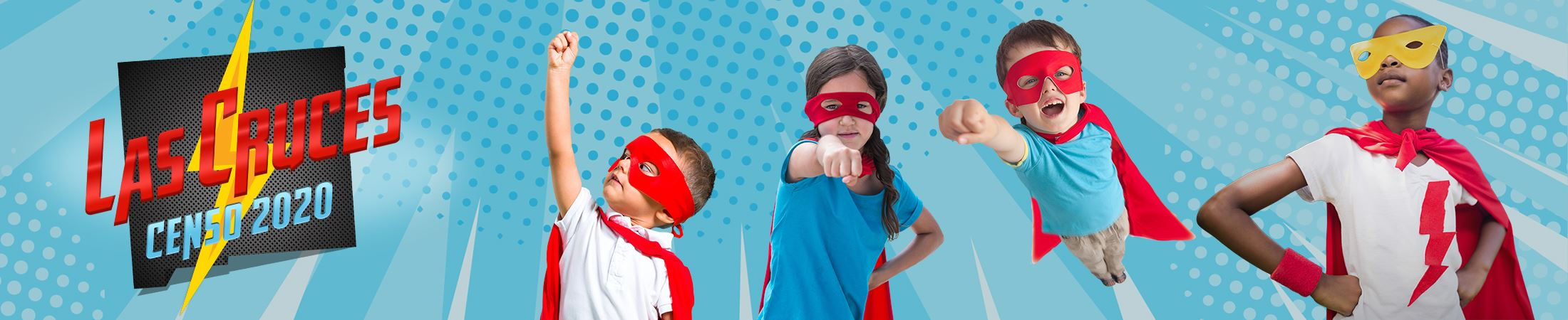 Census Banner with kids dressed as superhero, logo is in Spanish