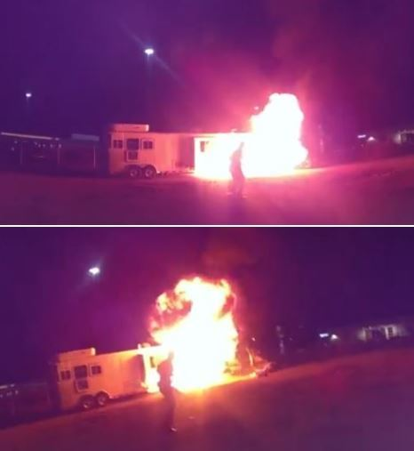 Fire Propane Tank Explosion Injures Couple collage