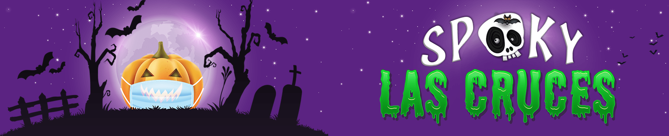 Illustration of a jack-o'-lantern wearing a surgical mask in a cemetery under the full moon