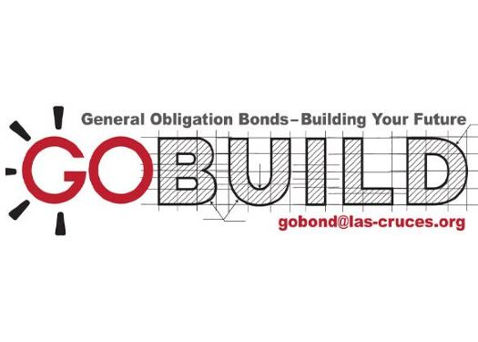 "Logo For Go Bond on City Website Text only Red ""GO"" and Grid like appearance Text ""Build"