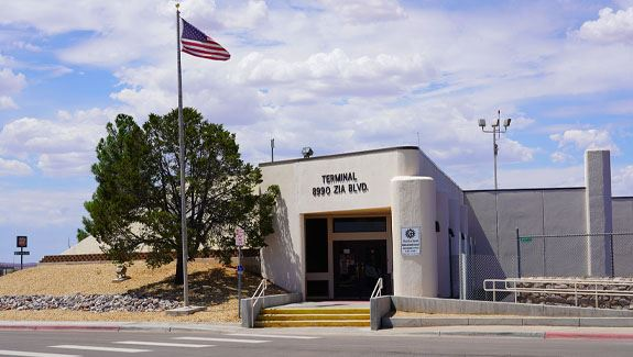 Photo of the front of the Las Cruces Airport Terminal