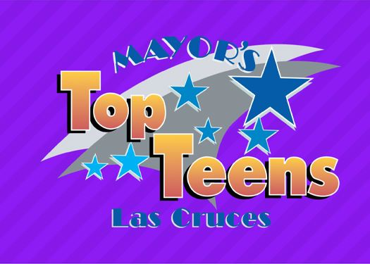 Logo for Mayors Top Teens - Text on Purple Background with Stars